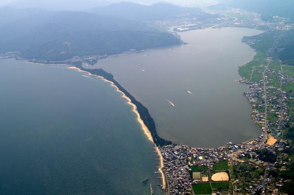 日本三景・天橋立の空撮(北側から)
