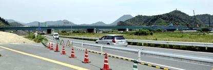 掛け替え工事中の大川橋(大川側より)